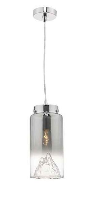 Vahla Polished Chrome and Smoked Glass Pendant Light