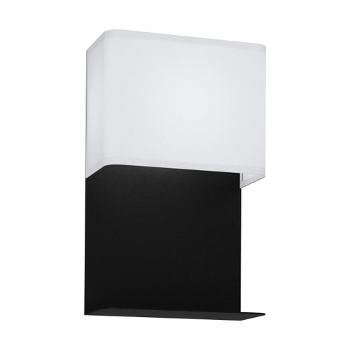 Eglo Lighting Galdako black with White Fabric Shade Wall Light