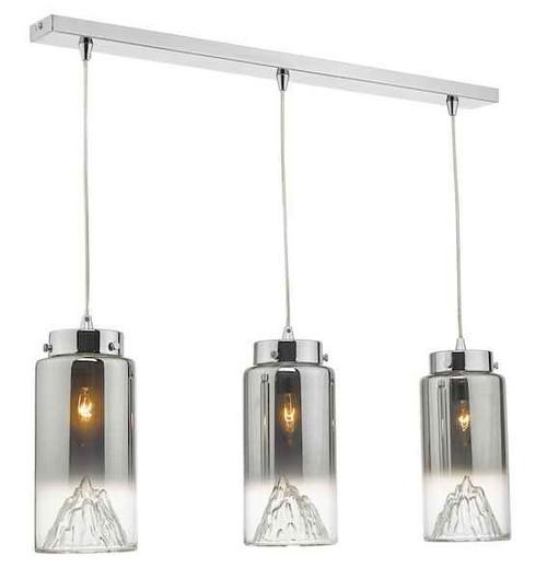 Vahla 3 Light Polished Chrome and Smoked Glass Bar Pendant Light