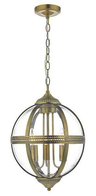 Vanessa 3 Light Antique Brass And Clear Glass Pendant Light