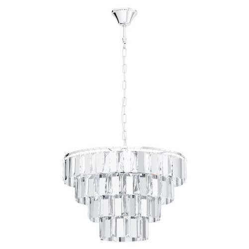 Eglo Lighting Erseka 7 Light Chrome with Clear Crystal Shade Chandelier Pendant Light