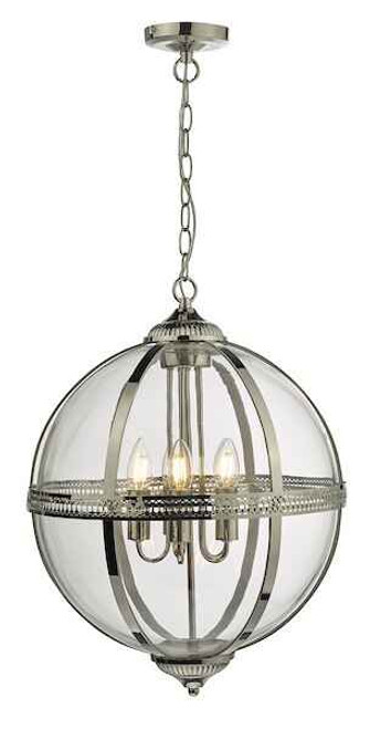 Vanessa 5 Light Polished Nickel And Clear Glass Pendant Light