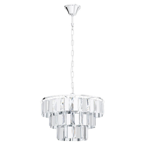 Eglo Lighting Erseka 5 Light Chrome with Clear Crystal Shade Chandelier Pendant Light