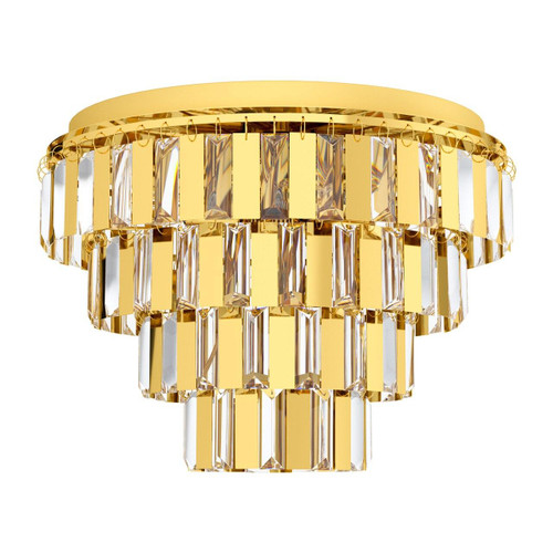 Eglo Lighting Erseka 7 Light Brass with Clear Crystal Shade Ceiling Light