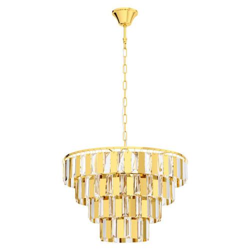 Eglo Lighting Erseka 7 Light Brass with Clear Crystal Shade Chandelier Pendant Light