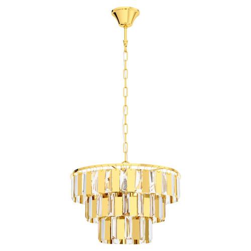 Eglo Lighting Erseka 5 Light Brass with Clear Crystal Shade Chandelier Pendant Light