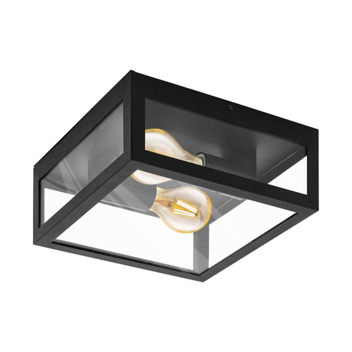 Eglo Lighting Amezola 2 Light Black with Clear Glass Wall and Ceiling Light