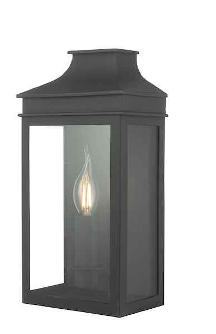 Vapour Matt Black Coach Lantern IP44 Wall Light