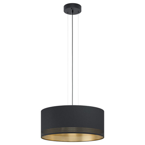 Eglo Lighting Esteperra 3 Light Black with Black and Gold Fabric Shade Pendant Light