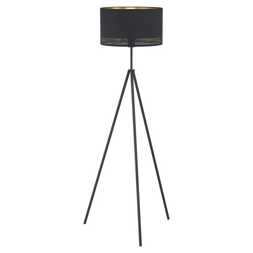 Eglo Lighting Esteperra Black with Black and Gold Fabric Shade Floor Lamp