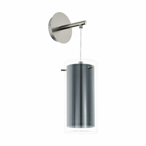 Eglo Lighting Pinto Textil with Clear Glass and Grey Fabric Shade Wall Light