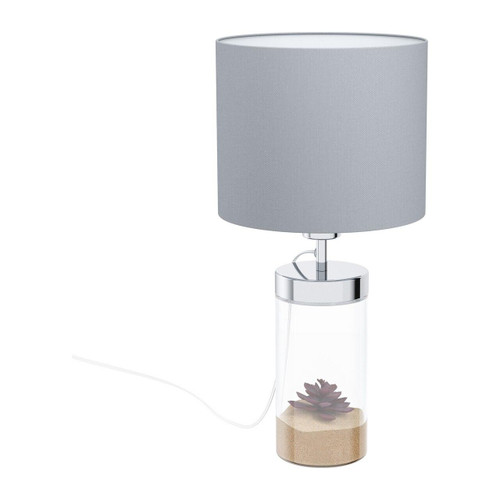 Eglo Lighting Lidsing Chrome with Grey Fabric Shade Table Lamp