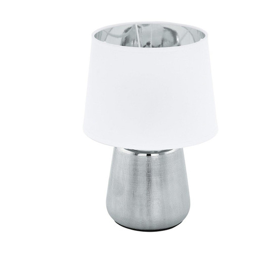 Eglo Lighting Manalba 1 Silver with White and Silver Fabric Shade Table Lamp