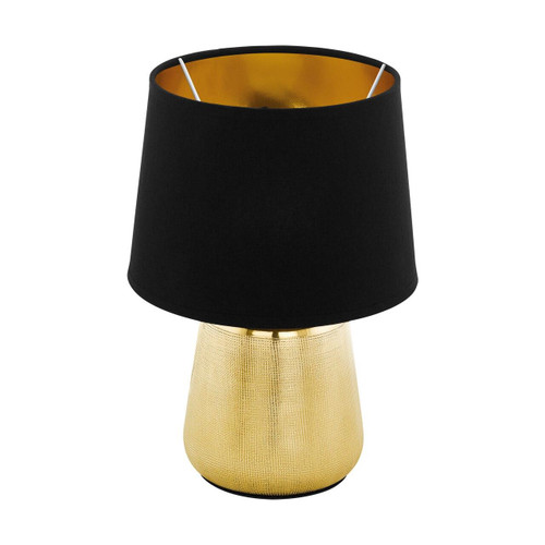Eglo Lighting Manalba 1 Gold Coloured with Black and Gold Fabric Shade Table Lamp