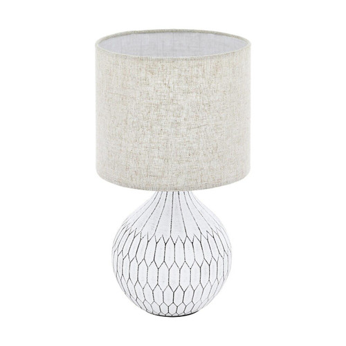 Eglo Lighting Bellariva 3 White with Light Brown Fabric Linen Shade Table Lamp