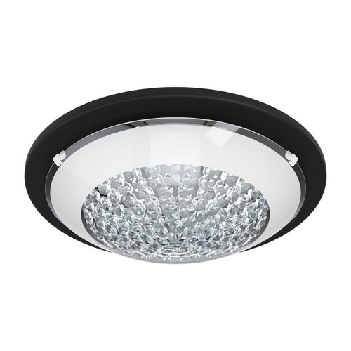Eglo Lighting Acolla 1 290 Black with White and Clear Crystal Glass Shade Wall and Ceiling Light
