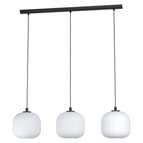 Eglo Lighting Mantunalle 3 Light Black with White Glass Shade Bar Pendant Light