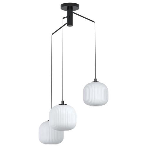 Eglo Lighting Mantunalle 3 Light Black with White Glass Shade Cluster Pendant Light
