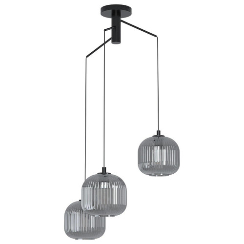 Eglo Lighting Mantunalle 3 Light Black with Black Transparent Glass Shade Cluster Pendant Light