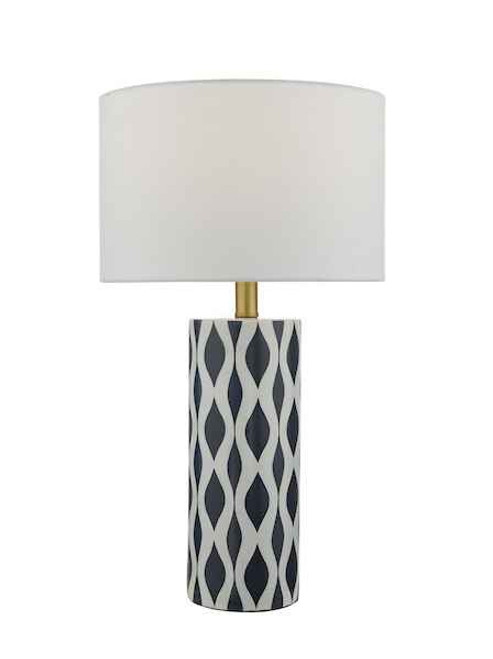 Weylin Blue and White Ceramic with White Faux Silk Shade Table Lamp