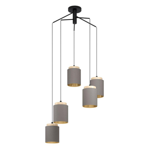 Eglo Lighting Albariza 5 Light Black and Brown with Cappuccino Fabric Shade Cluster Pendant Light