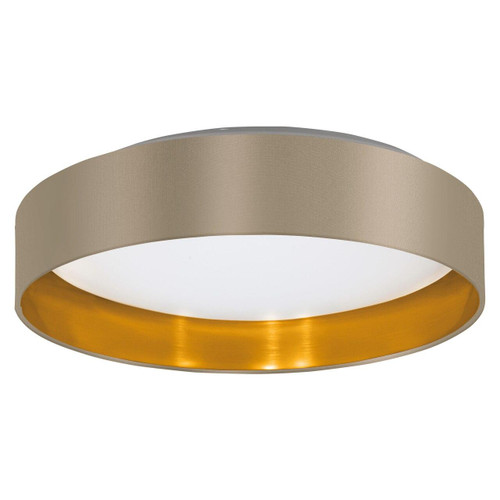Eglo Lighting Maserlo 2 380 White with Taupe and Gold Fabric Ceiling Light