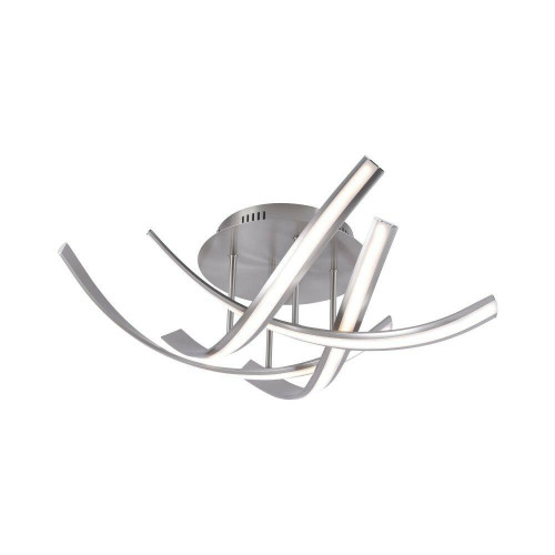 Paul Neuhaus LINDA 4 Light Satin Silver Dimmable Semi Flush Ceiling Light