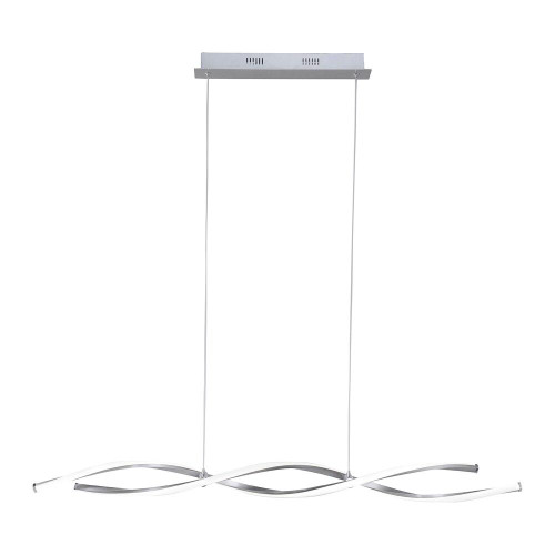 Paul Neuhaus POLINA 2 Light Silver Dimmable Rise and Fall LED Bar Pendant Light