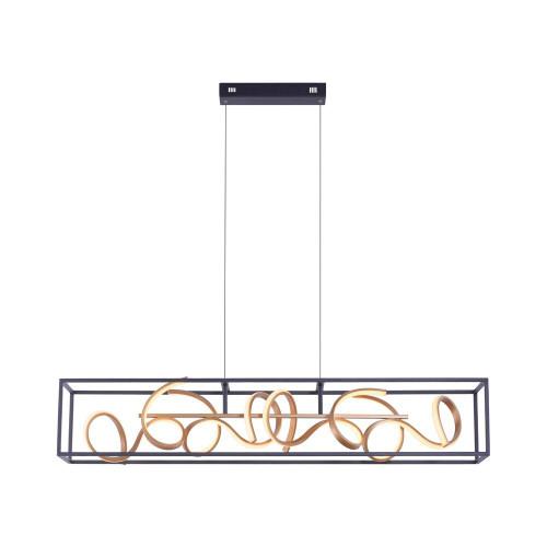 Paul Neuhaus SELINA 4 Light Black and Gold Dimmable Bar Pendant Light