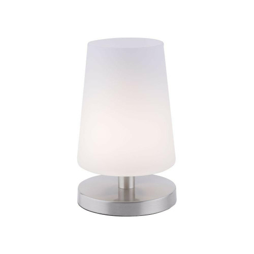 Paul Neuhaus SONJA Satin Steel with Opal Glass Shade Touch Dim Table Lamp