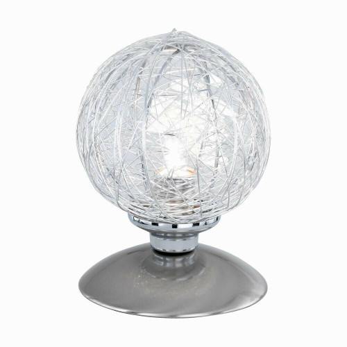 Paul Neuhaus WOMBLE Satin Steel with Glass Shade Touch Dim Table Lamp