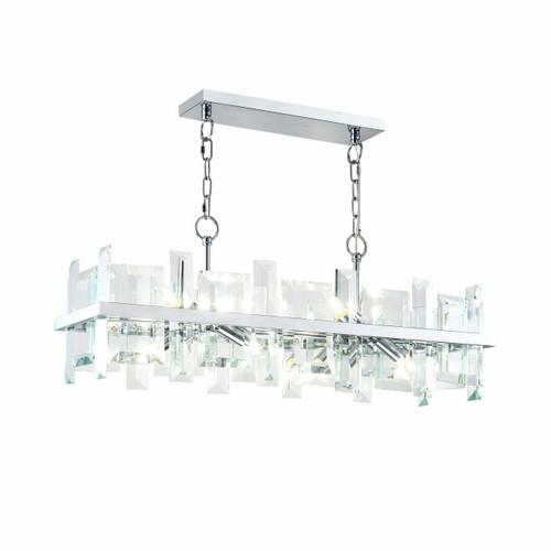 Maytoni Cerezo 8 Light Chrome and Glass Crystal Rectangular Modern Pendant Light