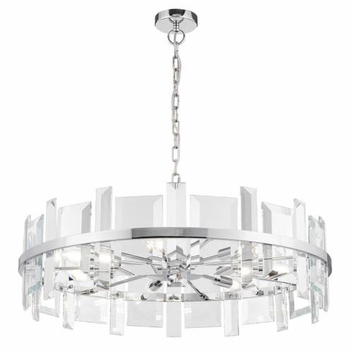 Maytoni Cerezo 7 Light Chrome and Glass Crystal Circular Modern Pendant Light