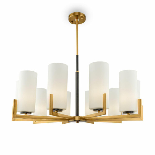 Maytoni Fortano 10 Light Brass with Opal Glass Crystal Modern Pendant Light