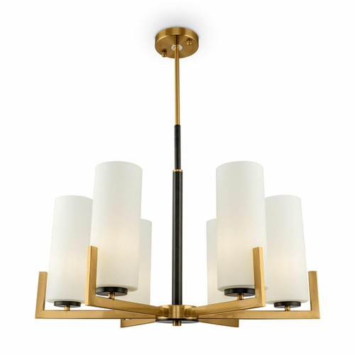 Maytoni Fortano 6 Light Brass with Opal Glass Crystal Modern Pendant Light