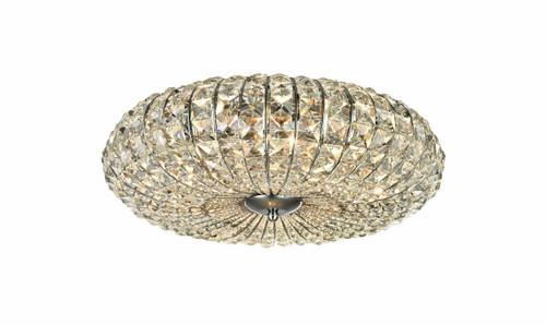 Maytoni Broche 6 Light Nickel with Glass Crystal Flush Ceiling Light