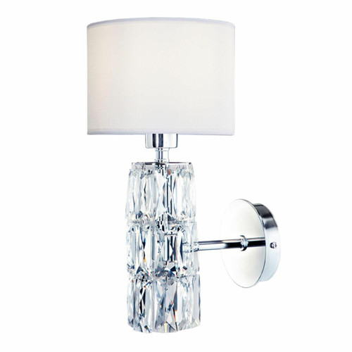Maytoni Talento Chrome and Glass Crystal with White Shade Wall Light