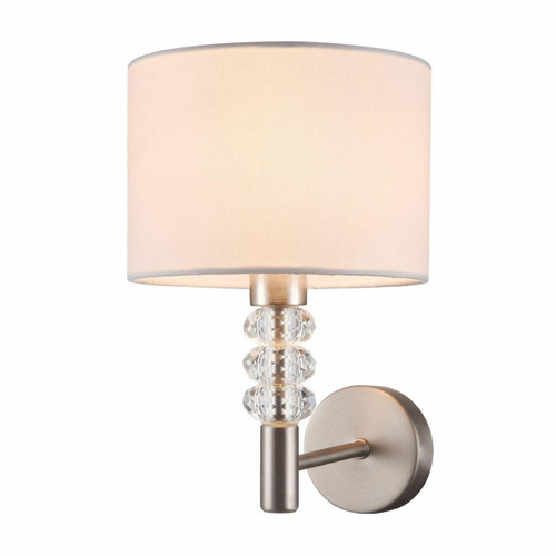 Maytoni Lincoln Satin Nickel and Glass Crystal with White Shade Wall Light