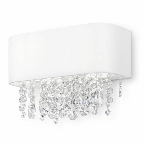 Maytoni Manfred White Shade with Glass Crystal Droplets Wall Light