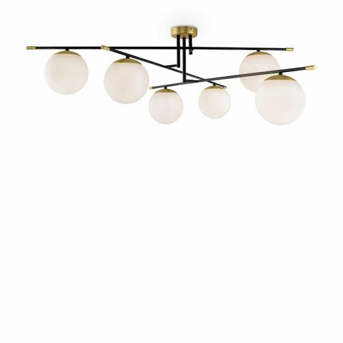 Maytoni Nostalgia 6 Light Black with Brass and Opal Glass Flush Ceiling Light