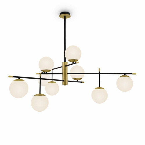 Maytoni Nostalgia 9 Light Black with Brass and Opal Glass Pendant Light