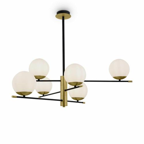 Maytoni Nostalgia 6 Light Black with Brass and Opal Glass Pendant Light