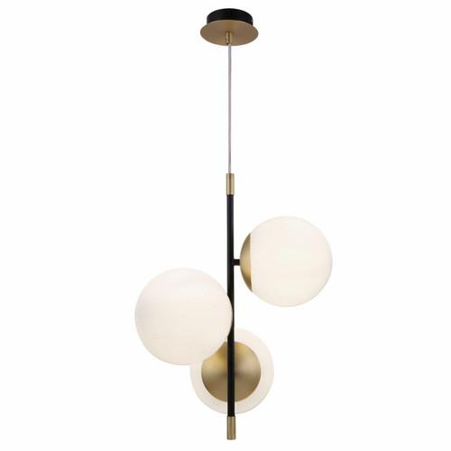 Maytoni Nostalgia 3 Light Black with Brass and Opal Glass Pendant Light
