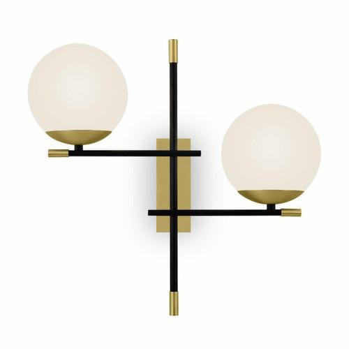Maytoni Nostalgia 2 Light Black with Brass and Opal Glass Wall Light