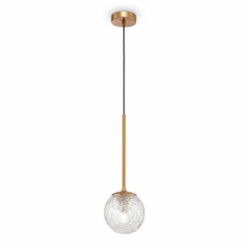 Maytoni Ligero Brass with Clear Patterned Glass Pendant Light