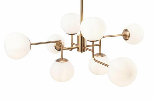 Maytoni Erich 8 Light Brass with Opal Glass Pendant Light