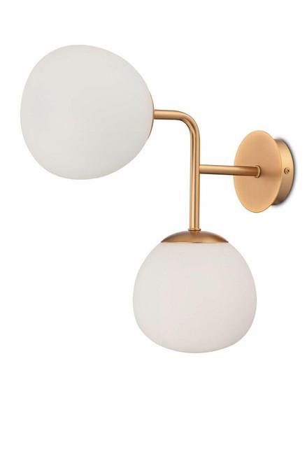 Maytoni Erich 2 Light Brass with Opal Glass Wall Light