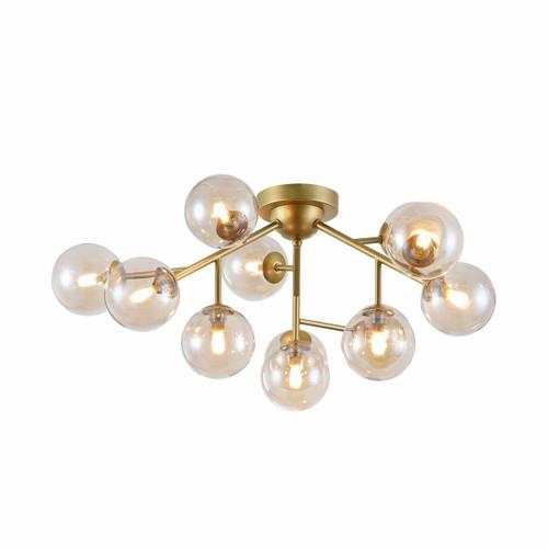 Maytoni Dallas 12 light Gold with Amber Glass Semi-Flush Ceiling Light