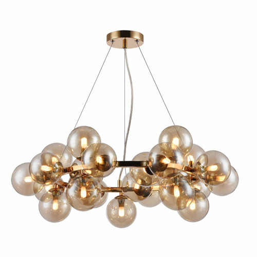 Maytoni Dallas 25 Light Gold and Amber Glass Pendant Light