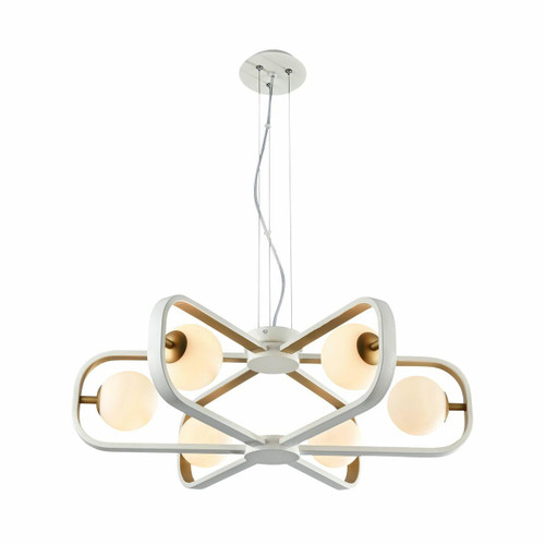 Maytoni Avola 6 Light Matt White with Gold and Opal Glass Pendant Light